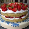 "Stephanie's ""Healthy""  Vanilla Bean Cake with Fresh Strawberries & Whipped Cream"